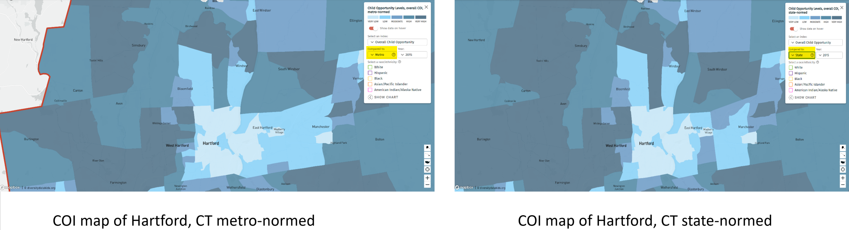 COI maps of Hartford, CT metro and state normed