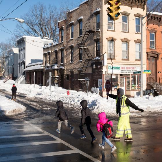 Kids crossing a street in Albany, NY