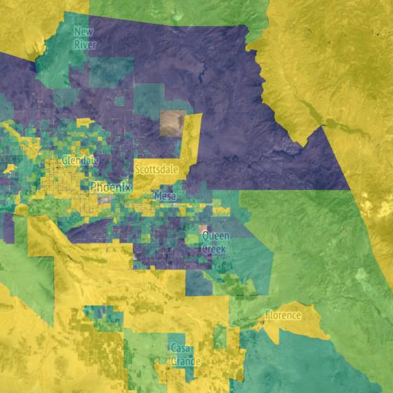 Child opportunity map for Arizona