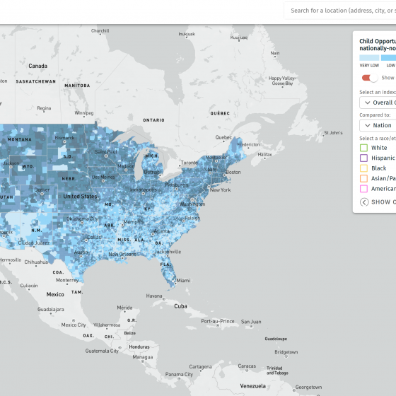 Screen shot of a COI map of the U.S.