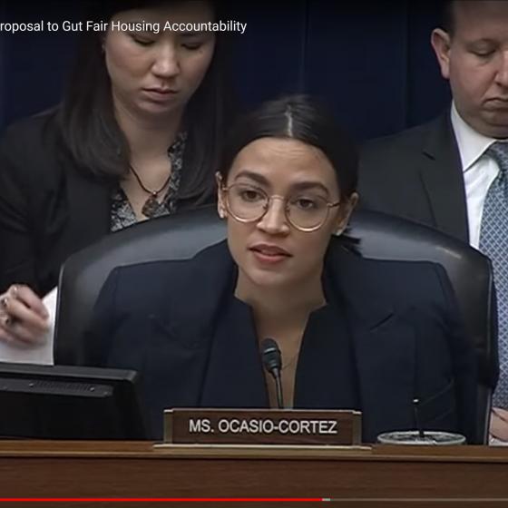 Screenshot of Rep. Ocasio-Cortez testifying in Congress